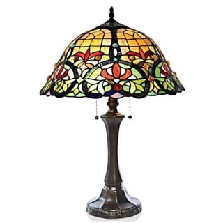 23 Inch Tiffany Style Stained Glass Edwardian Hearts Table Lamp