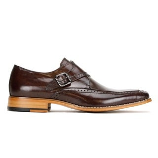 Govanni Brown Leather Oxford Style Shoe with Side Strap