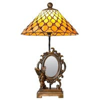 23 Inch High Tiffany Style Stained Glass Cherub Mirror Table Lamp
