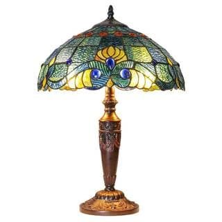 20 Inch Tiffany Style Stained Glass Swirling Shells Table Lamp