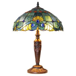 Copper Grove Carnach 20-inch Tiffany-style Stained Glass Swirling Shells Table Lamp