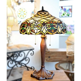 25 Inch Tiffany Style Stained Glass Lattice Table Lamp