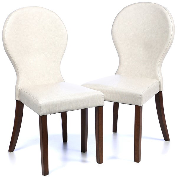 Set Of 4 Country Cream Dining Chairs: Shop Mid Century Rounded Back Design Cream Leatherette