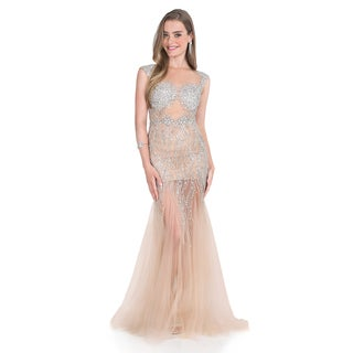 Terani Couture Women's Crystal Embellished Illusion Gown