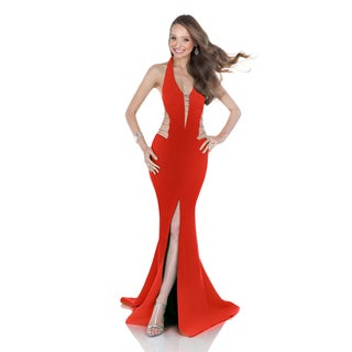 Terani Couture Women's Red Halter Top Neoprene Prom Gown