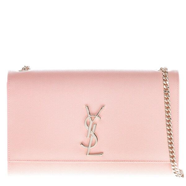 Shop Yves Saint Laurent Kate Pink Satchel with Gourmette Chain Strap ... d09cf4deab56d