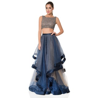 Two-Piece Beaded Tulle Prom Gown