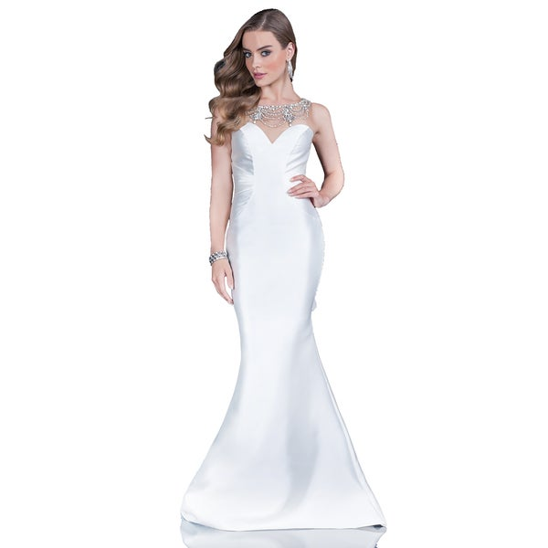 Terani Couture Women\'s White Strapless Illusion Long Evening Gown ...