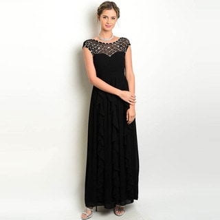 Shop the Trends Women's Cap Sleeve Gown with Sheer Yoke and Embellished Designs