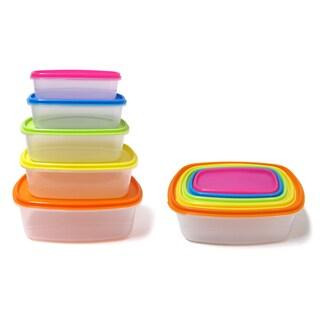 10-piece Always Fresh Plastic Food Storage Containers Set With Color Coded Lids (2 options available)