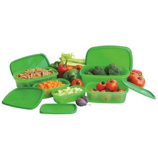 Always Fresh Plastic Food Storage Containers Set With Air Tight Lids - Green