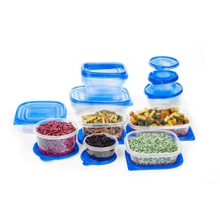 34 Pc Reusable Plastic Food Storage Containers Set with Air Tight Lids (Option: Blue)