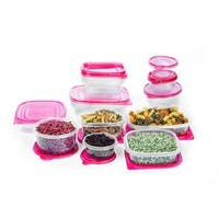 34 Pc Reusable Plastic Food Storage Containers Set with Air Tight Lids