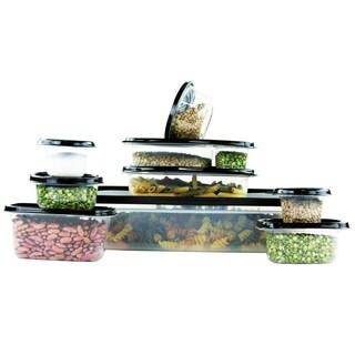 38 Pcs Reusable Plastic Food Storage Containers Set with Air Tight Black Lids