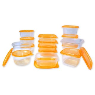 30 Pc Reusable Plastic Food Storage Containers Set with Air Tight Lids (Option: Orange)