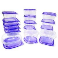 30 Pc Reusable Plastic Food Storage Containers Set with Air Tight Lids