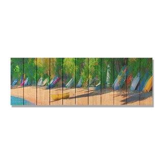 Jamaican Boats 62x20 Indoor/ Outdoor Full Color Cedar Wall Art