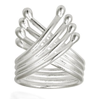 Handmade Ribbon HillTribe Wing Wrap Solid Sterling Silver Adjustable Ring (Thailand)