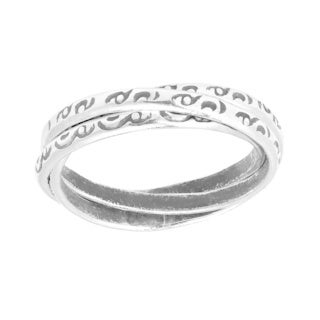 Handmade Interconnected Trinity Tribal Pattern HillTribe Silver Ring (Thailand)
