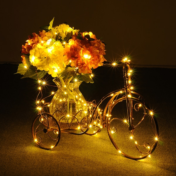 String Lights Copper Wire 100 Individual LEDs with Warm White (Amber Champagne-gold) For ...
