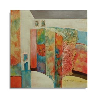 Bright and Beautiful Oil Painting of a Colorful Abstract Scene Wall Art