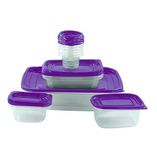 26-piece Reusable Plastic Food Storage Containers Set with Air Tight Lids