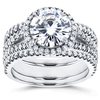 Annello by Kobelli 14k White Gold 1 7/8ct Forever Brilliant Round Moissanite and 1ct Diamond Halo Sp