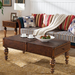 Leather Look Two Drawer Trunk Coffee Table w/Rivet Details and Antiqued Gold Legs