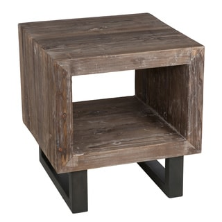 Kosas Home Sardinia Distressed Pine Wood 22 Inch End Table