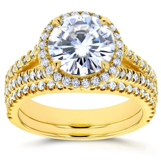 Annello by Kobelli 14k Gold 1 7/8ct Forever Brilliant Round Moissanite and 3/4ct Diamond Halo Split