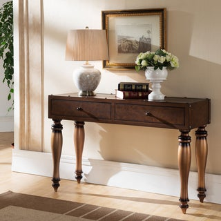 Leather Look Two Drawer Trunk Sofa Table w/Rivet Details and Antiqued Gold Legs