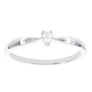 H Star 14k White Gold Diamond Accent Heart-shaped Solitaire Promise Ring (H-I, I2-I3)