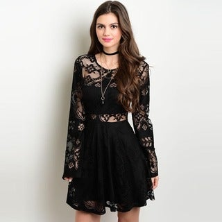 Shop the Trends Women's Black Long Sleeve Cutout Lace Dress