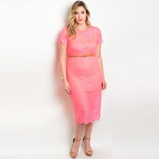 Shop the Trends Women's Plus Size Short Sleeve Lace Midi Dress with Belt