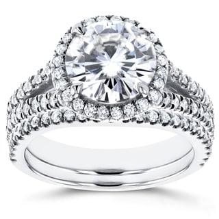 Annello 14k White Gold 1 7/8ct Forever Brilliant Moissanite and 3/4ct Diamond Halo Split Shank 2-piece Bridal Ring (G-H, I1-I2)