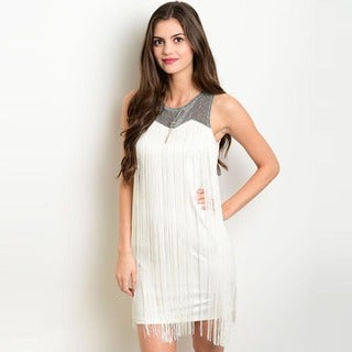 Shop the Trends Women's Sleeveless Metallic Speckled Accents Fringe Bodycon Dress
