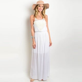Shop the Trends Women's Sheer Crochet Front Spaghetti Strap Maxi Dress