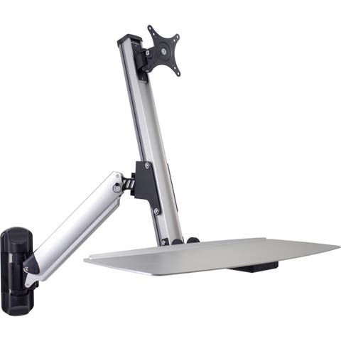 """DoubleSight Displays DS-ERGO-100WM Ergonomic Sit/Stand Monitor Arm and Keyboard Tray Wall Mount up to 30"""" Monitor - 24"""" lb Supp"""