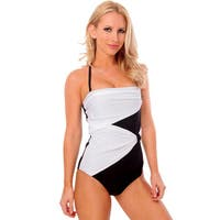 Famous Daisy's Black with White Draped Overlay Strapless Bandeau One Piece