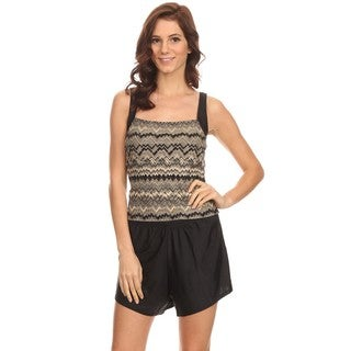 Dippin' Daisy's Brown and Black Zigzag Over the Shoulder Missy Tankini