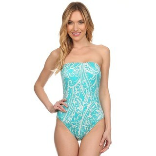 Dippin Daisy's Teal Paisley Strapless One Piece Missy Bathing Suit (More options available)