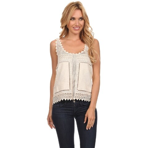 High Secret Women's Sleeveless Scoop Neck Crochet Top
