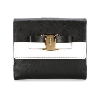 Salvatore Ferragamo Vara Black and White Leather Wallet
