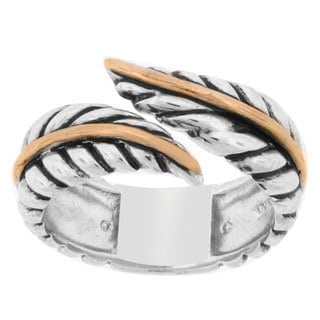 Meredith Leigh 14k Yellow Gold and Sterling Silver Bypass Leaf Band