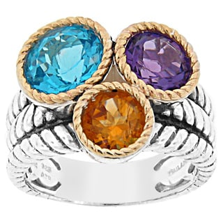 Meredith Leigh 14k Gold Rope Bezel Accented Sterling Silver Multi-gemstone Rope Ring