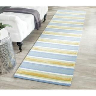 Isaac Mizrahi by Safavieh Handmade Beach Stripe Yellow/ Blue Wool Rug (2'3 x 8')