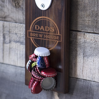 Dad's Brew House Wall Mount Bottle Opener with Magnetic Cap Catcher