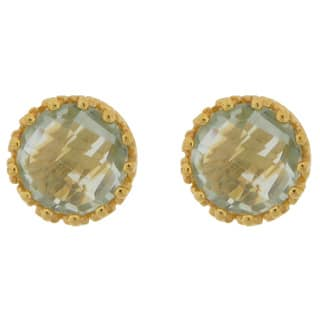 Meredith Leigh Yellow Gold Plate over Silver Green Amethyst Studs https://ak1.ostkcdn.com/images/products/11649797/P18581274.jpg?impolicy=medium