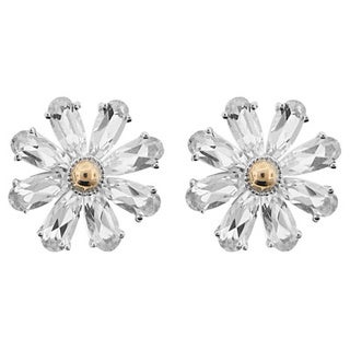 Meredith Leigh 14k Yellow Gold and Sterling Silver White Topaz Flower Earrings