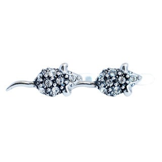 Silverplated Cute Mouse Earrings with White Swarovski Crystals